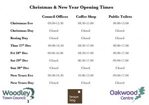 Woodley Town Council opening times Christmas 2018