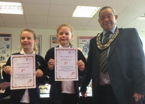Woodley schools bake off winners with Mayor Rahmouni
