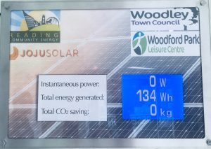 solar panel readings Woodford Park Leisure Centre Woodley
