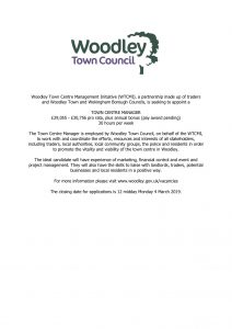 Woodley Town Centre Manager vacancy