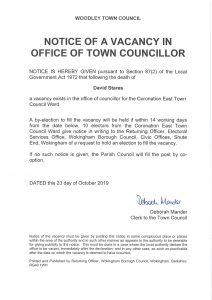 vacancy of town councillor Woodley Town Council