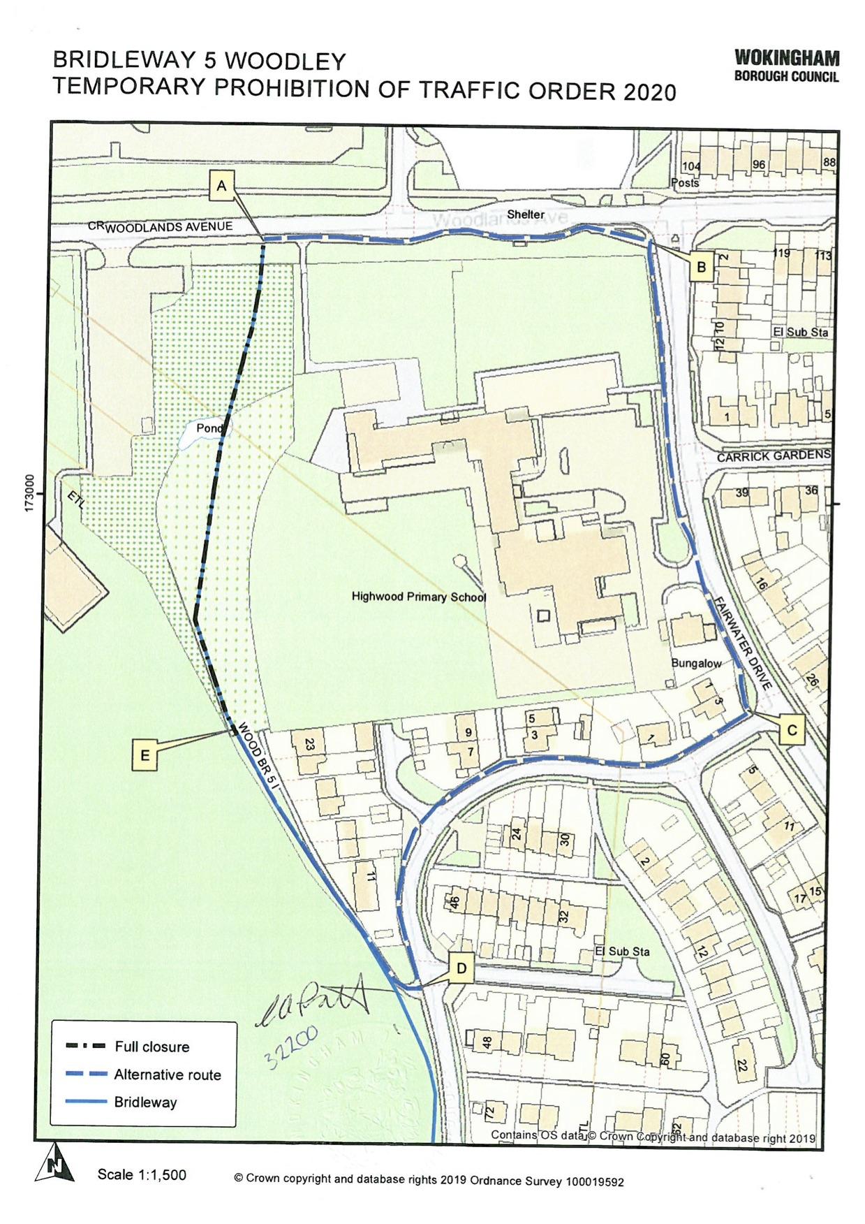 Bridleway closure in WOodley